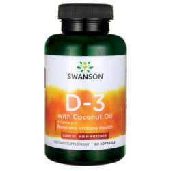 Swanson Witamina D3 2000IU z olejem kokosowym 60